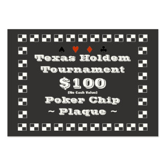 Texas Holdem Poker Chip Plaque $100 (100ct) Large Business Cards (Pack Of 100)