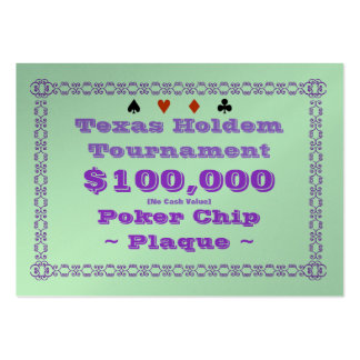 Texas Holdem Poker Chip Plaque $100k (100ct) Business Card