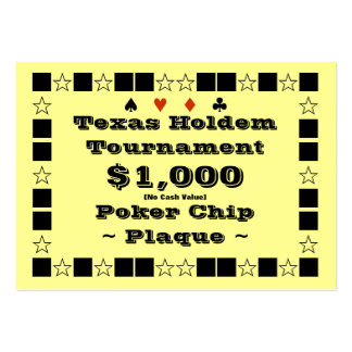 Texas Holdem Poker Chip Plaque $1k (100ct) Business Cards