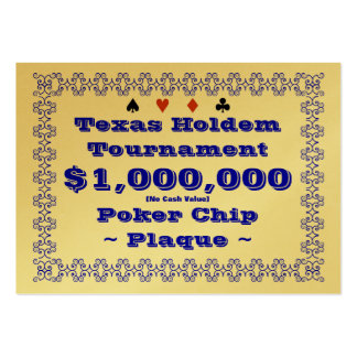 Texas Holdem Poker Chip Plaque $1M (100ct) Large Business Cards (Pack Of 100)