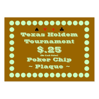 Texas Holdem Poker Chip Plaque $.25 (100ct) Large Business Cards (Pack Of 100)