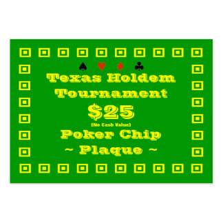 Texas Holdem Poker Chip Plaque $25 (100ct) Pack Of Chubby Business Cards