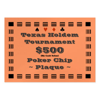 Texas Holdem Poker Chip Plaque $500 (100ct) Pack Of Chubby Business Cards