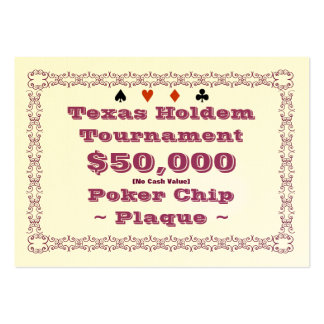 Texas Holdem Poker Chip Plaque $50k (100ct) Pack Of Chubby Business Cards