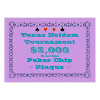 Texas Holdem Poker Chip Plaque $5k (100ct) Pack Of Chubby Business Cards