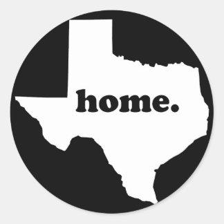 Texas Home Version 2 black & white Round Sticker