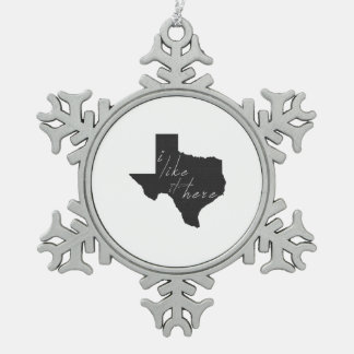 Texas I Like It Here State Silhouette Black Pewter Snowflake Decoration