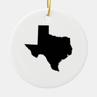 Texas in Black and White Double-Sided Ceramic Round Christmas Ornament