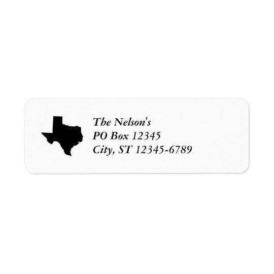 Texas in Black and White Return Address Label