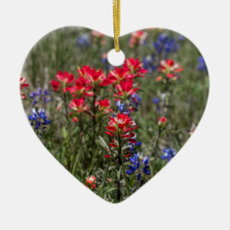 Texas Indian Paintbrush and Bluebonnet Wildflowers Ceramic Ornament