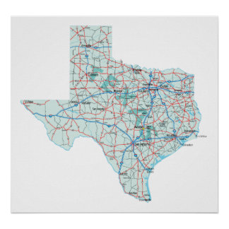 Texas Interstate Map Print