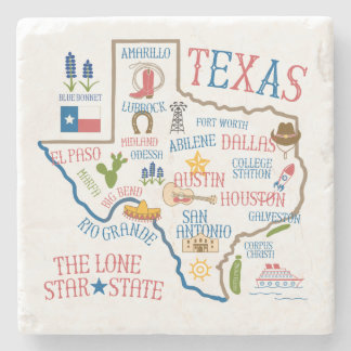 Texas Landmarks Art Stone Coaster