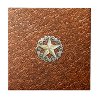 Texas Lone Star Concho on Brown Leather look Small Square Tile