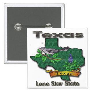 Texas Lone Star State Bird Flower Pinback Buttons