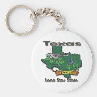 Texas Lone Star State Bird Flower Keychains