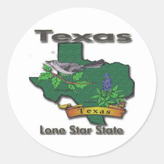Texas Lone Star State Bird Flower Round Stickers