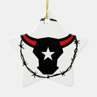 Texas Longhorn Barbed Wire Icon Ceramic Ornament