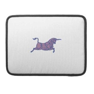 Texas Longhorn Bull Charging Mono Line Sleeve For MacBooks