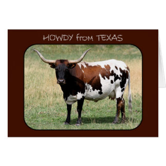 Texas Longhorn Cow Howdy from Texas Greeting Card
