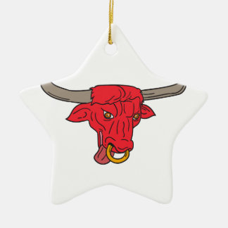 Texas Longhorn Red Bull Drawing Ceramic Ornament