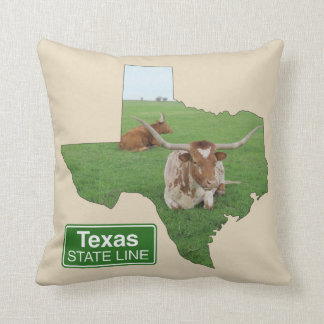 Texas Longhorn Steer State Line Sign ANY COLOR Cushion