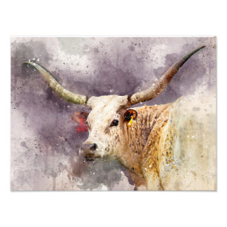 Texas Longhorn Watercolor Photo Abstract Modern