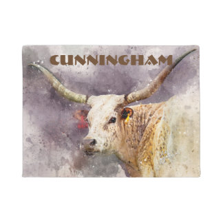 Texas Longhorn Watercolor Photo Abstract Modern Doormat