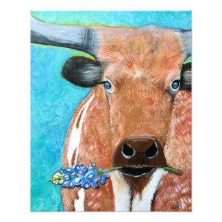 Texas Longhorn with Bluebonnet Art Photo