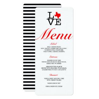 Texas Love Menu Card