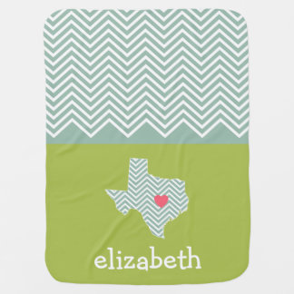 Texas Love with Custom Heart and Family Name Baby Blanket