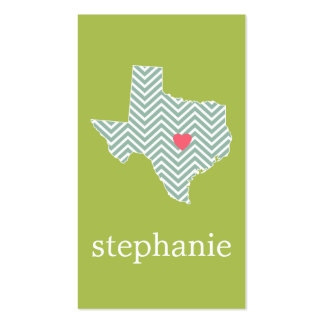 Texas Love with Custom Heart and Family Name Double-Sided Standard Business Cards (Pack Of 100)
