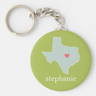 Texas Love with Custom Heart and Family Name Key Ring