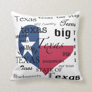Texas Love-Word-cloud+Texas Heart Shaped Flag Cushion