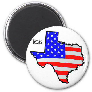 Texas Map and Flag 6 Cm Round Magnet