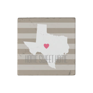 Texas Map Home State Love with Custom Heart Stone Magnet
