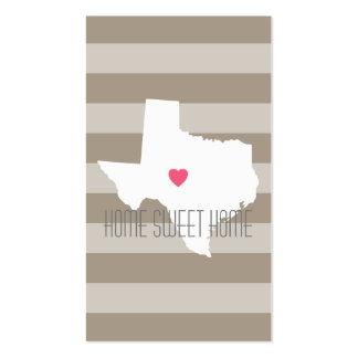 Texas Map Home State Love with Custom Heart Pack Of Standard Business Cards