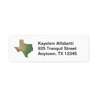 Texas Map Return Address Label