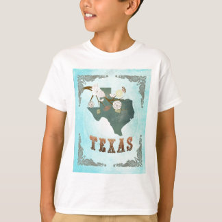 Texas Map With Lovely Birds T-Shirt