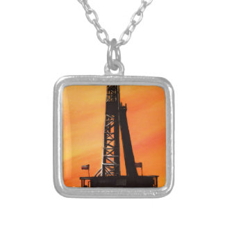 Texas Oil Rig Silver Plated Necklace