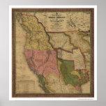 Texas, Oregon & California Map - 1846 Poster