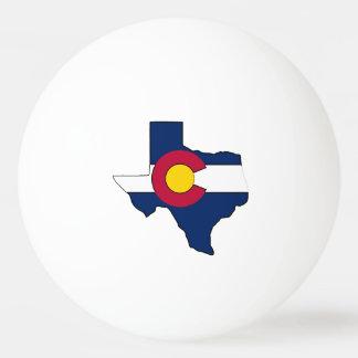 Texas outline Colorado flag ping pong ball