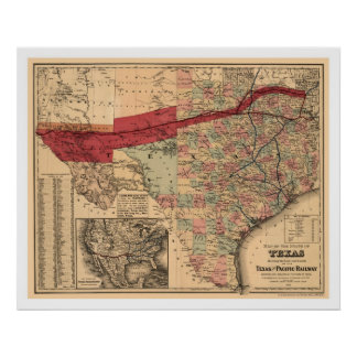 Texas & Pacific Railroad Map 1873 Poster