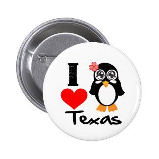 Texas Penguin - I Love Texas Pinback Buttons