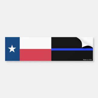 Texas & Police Thin Blue Line Flag Bumper Sticker