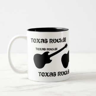 Texas Rocks! black guitar on white Mugs