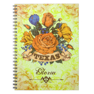 Texas, Rustic Floral Spiral Note Book