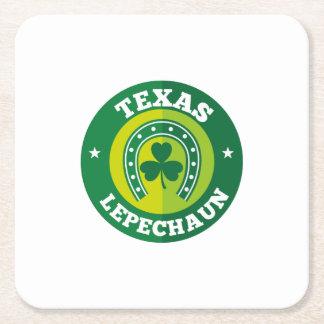 Texas Shamrock Leprechaun St. Patrick's Day Funny Square Paper Coaster