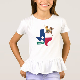 Texas Shape Flag Cowgirl And Houston Road Sign T-Shirt