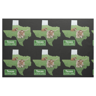 Texas Shape With Longhorn Steer State Line Sign Fabric