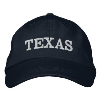 Texas Simple Word Navy Blue White or Custom Color Embroidered Hat
